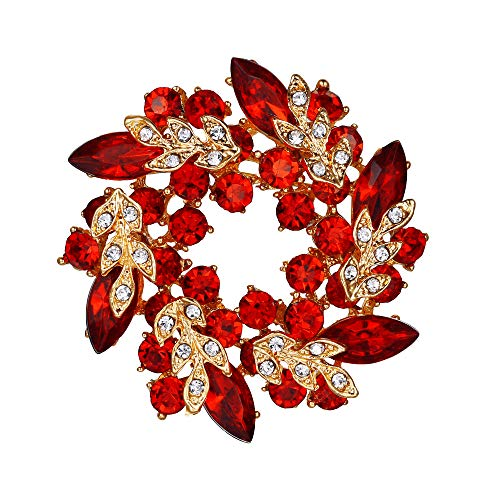 - EVER FAITH Austrian Crystal Wedding Flower Wreath Brooch Pin Red Gold-Tone