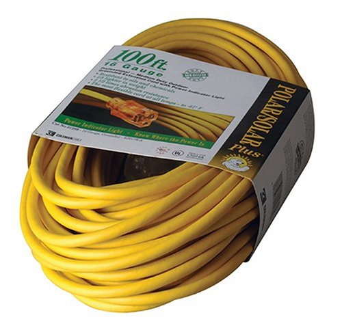 Coleman Cable 01289 100-Foot All-Weather 16/3 Extension Cord with Lighted End