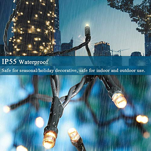 Decute 105FT 300LEDs Christmas String Lights Outdoor Indoor, Waterproof End-to-End Plug 8 Modes Twinkle Lights, UL Certified Fairy Lights for Christmas Tree Decoration Party Garden Decor Warm White