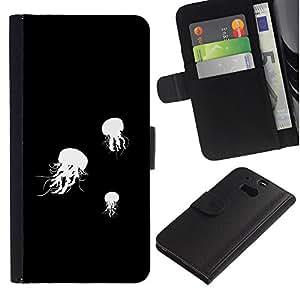 """A-type (Jelly Fish B & W"""") Colorida Impresión Funda Cuero Monedero Caja Bolsa Cubierta Caja Piel Card Slots Para HTC One M8"""