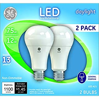 GE LED Light Bulbs, A21 Non-Dimmable General Purpose (75 Watt Replacement LED Light Bulbs), 1100 Lumen, Medium Base Light Bulbs, Daylight, 2-Pack LED Bulbs
