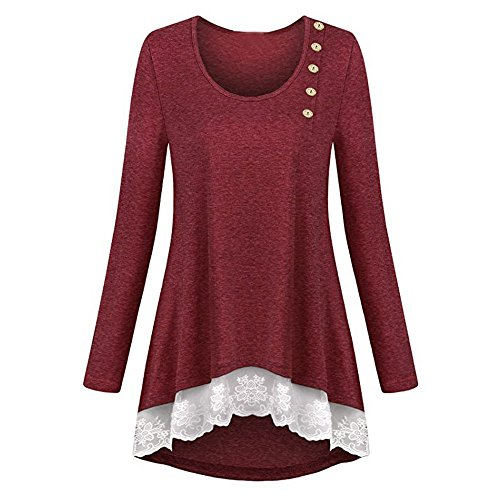 Hot Sale! KIKOY Womens Lace Pure Color T-shirts Casual Loose Tops Tunic Blouse
