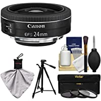 Canon EF-S 24mm f/2.8 STM Wide Angle Lens with Tripod + 3 Filters + Kit for EOS 70D, 7D, Rebel T3, T3i, T5, T5i, SL1 DSLR Camera