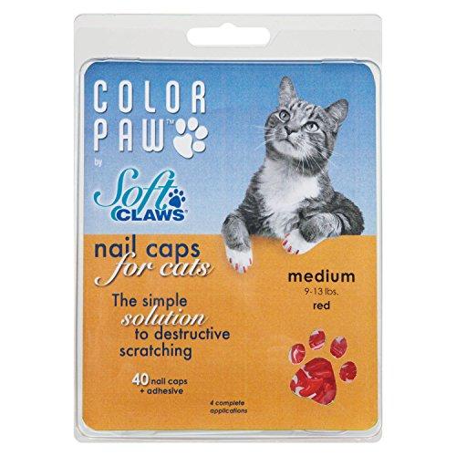 Color Paw Feline Nail Caps, Medium, Red