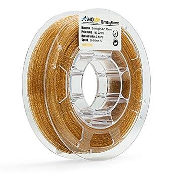 AMOLEN Impresora 3D Filamento PLA 1.75mm, Speckle Shining Oro 225G ...
