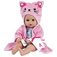 """Adora BathTime Kitty 13"""" Girl Washable Play Doll with Open/Close Eyes for Children 1+ Soft Cuddly Huggable QuickDri Body for Water Fun Toy"""