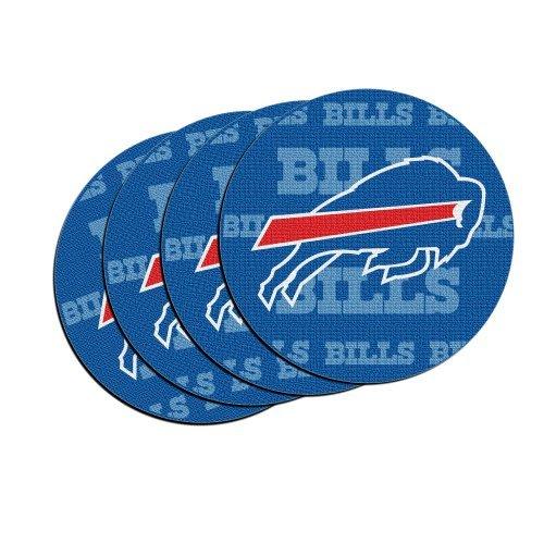 NFL Football Team Logo Neoprene Car Coasters (4) | Car Cup Holder Coasters - Set of 4 (Bills) (Buffalo Round Balls)