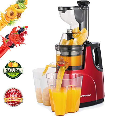 Masticating Juicer Machines, Hethtec Cold Press Juice Extractor with Large Double-Chute and Clean Brush for Fruits and Vegetables, High Yield, BPA-Free, 60R M, 150W red-1