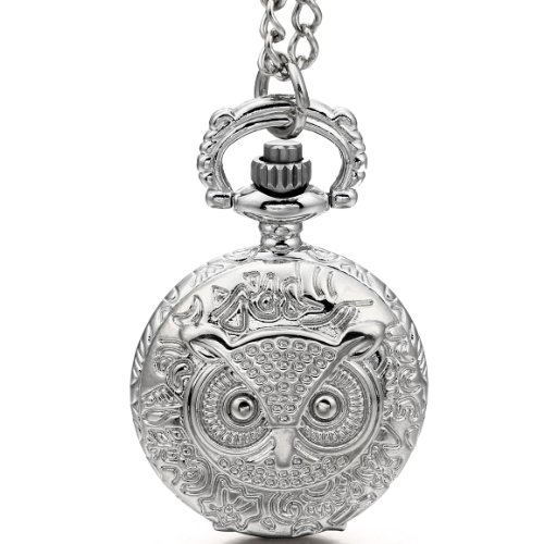JewelryWe Mothers Day Gift Vintage Pocket Watch Night Owl Quartz Watch White Dial Arabic Numerals Pendant 31