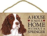 (SJT63969) A house is not a home without a Springer (Spaniel) wood sign plaque 5