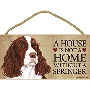 "SJT ENTERPRISES, INC. A House is not a Home Without a Springer (Spaniel) Wood Sign Plaque 5"" x 10"" (SJT63969) 6"