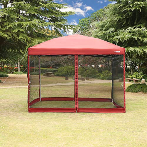 VIVOHOME 210D Oxford Outdoor Easy Pop Up Canopy Screen Party Tent with Mesh Side Walls Red 8 x 8 ft