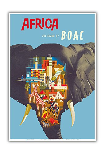 Pacifica Island Art Africa - Fly There by BOAC (British Overseas Airways Corporation) - Vintage Airline Travel Poster by Eric Pulford c.1959 - Master Art Print - 13in x 19in