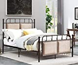 O&K Furniture Metal Bed Frame with Headboard, Platform Bed Base Box Spring Replacement Steel Slats Bed for Kids Adult Beds, Quiet Noise-Free, (Chocolate, Full Size)