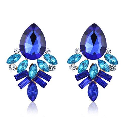 Con Di Gioielli Donna Regalo Corti Esagerazione Per Cristallo Orecchini Bigboba Fiore Forma Argento Moda Blu qRX0UX
