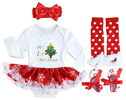 (FANCYINN Baby Girls My First Christmas Outfit Costume Tutu Dress Rompers 4Pcs Set White Christmas Tree 3-6Months)