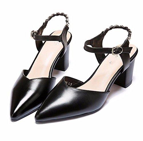 Zapatos De Sandalias HBDLH Agua Mujer Señaló De Tacon Heels Taladro 7 Solo De Zapatos Alto Rough Cadenas Hueco La Primavera Cm Verano Y black Zapatos El Los wrxrZqfa