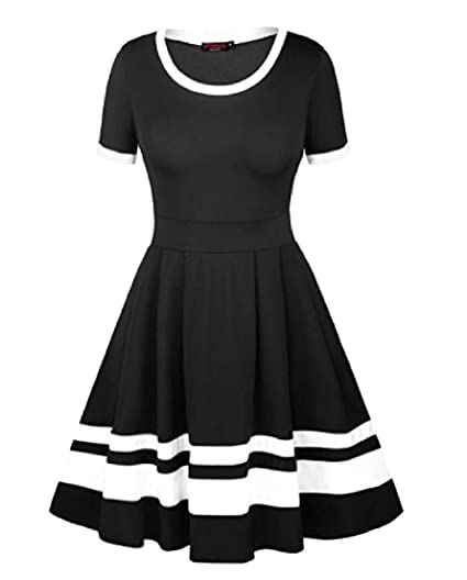 a25a9a46fd3 BAYY Womens Big Pendulum Modern A Line Short-Sleeved Evening Party Dress  Black XS