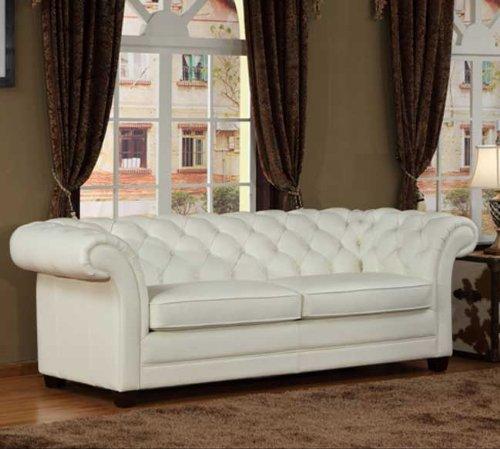 Lazzaro 1042 White Sofa in Leather