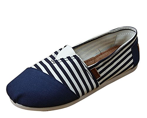 Marche Femme Ballet Minetom Casual Chaussures Bleu Janes Chaussure Plat Shoes Toile Mary 8ZHZnqdWI