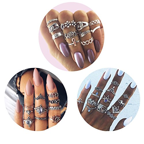 Adramata 33PCS Knuckle Ring Set for Women Silver Vintage Stackable Rings Bohemian Jewelry