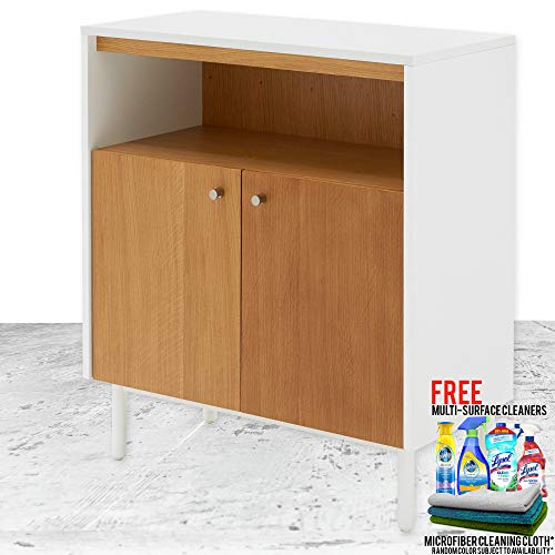 Modern Contemporary Finna Accent Cabinet Bundle with Free Microfiber Cleaning Cloth and Multi Surface Cleaner