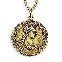 Azaggi Gold Plated Sterling Silver Julia Flavia Titi Titus Daughter Coin Necklace