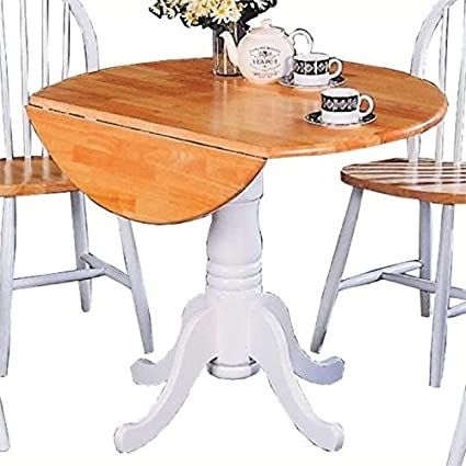 Ordinaire Bowery Hill Round Pedestal Drop Leaf Dining Table In Natural And White