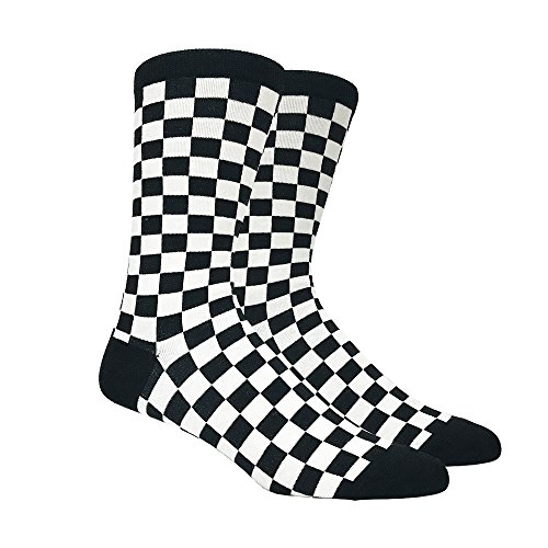 Men's Black and White Checkered Socks, Shoe Size 6-12 -