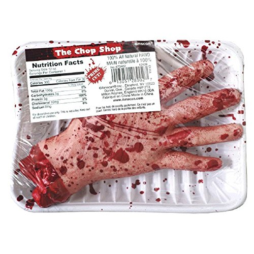 Amscan Chopped Hand Meat Market Shop Value Pack Halloween Party Decoration, Brown/Red, 8 1/2