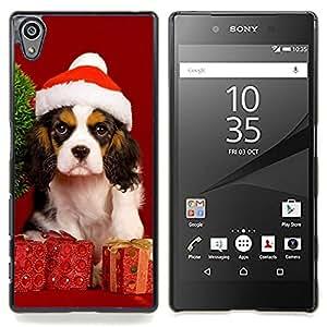 """Qstar Arte & diseño plástico duro Fundas Cover Cubre Hard Case Cover para Sony Xperia Z5 5.2 Inch (Not for Z5 Premium 5.5 Inch) (Navidad del perro de perrito"""")"""