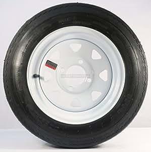 "Trailer Tire + Rim 4.80-12 480-12 4.80 X 12 12"" LRB 4 Lug White Wheel Spoke"