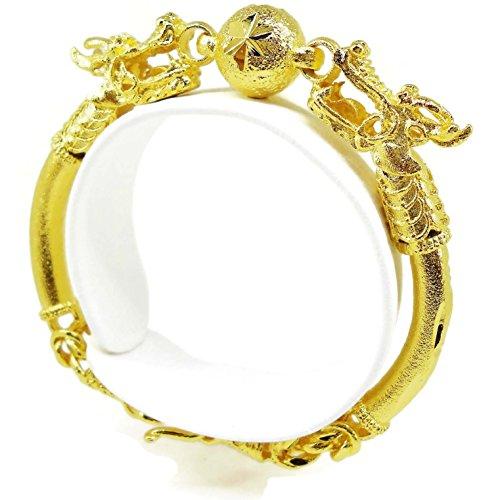 22k Yellow Gold Bangles (Dragon Ball Bracelet 22k 23k 24k Thai Baht Yellow Gold Plated Jewelry Bangle)