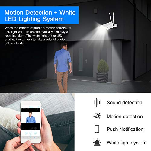 Outdoor Security Camera,2K 500MP,WiFi Camera Wireless Surveillance Cameras,IP Camera with Two-Way Audio,Night Vision,Motion Detection,Activity Alert,Deterrent Alarm - iOS,Android,Cloud Storage (white)