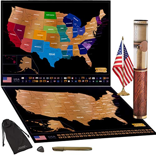"Scratch Off Map of USA Travel Poster with US States Outlined State Flags 24"" x 17"" 