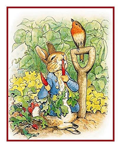 Rabbit Peter Pattern Stitch Cross (Beatrix Peter Rabbit Digging Garden Counted Cross Stitch Pattern)