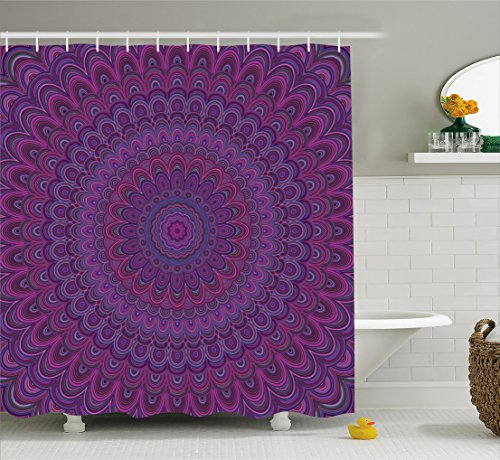 Eggplant Shower Curtain by Ambesonne, Purple Mandala Shape with a Kaleidescopic Style Sixties Inspired Oriental Abstract Art, Fabric Bathroom Decor Set with Hooks, 70 Inches, Purple