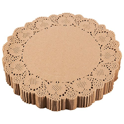 Paper Doilies - 250-Pack Round Lace Placemats for Cakes, Desserts, Baked Treat Display, Ideal for Weddings, Formal Event Decoration, Tableware Decor, Brown - 12 Inches in Diameter ()