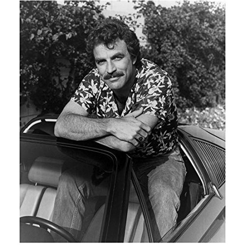 (Tom Selleck 8x10 Inch Photo Blue Bloods 3 Men and a Baby Magnum. P.I. B&W Sitting on Top of Seat of Ferrari Arms Crossed kn)