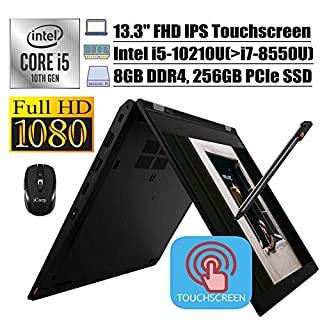 "2020 Flagship Lenovo ThinkPad L13 Yoga 2-in-1 Business Laptop, 13.3"" FHD IPS Touchscreen, 10th Gen Intel 4-Core i5-10210U(>i7-8550U), 8GB DDR4 256GB PCIe SSD, Backlit FP PEN Win + iCarp Wireless Mouse"