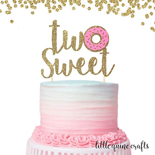 (1 pc Two Sweet Donut Gold Glitter Cake Topper for Second Birthday Baby Toddler girl boy summer Party donut grow up theme)