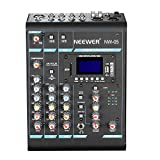 Neewer Stereo Mixer 5 Channel Compact Mini Mixing Console Echo DSP Effects, LCD Display Screen, Built-in SD card/USB/Bluetooth/48V Phantom Power Functions for Sound Recording, Music Editing (NW-05)