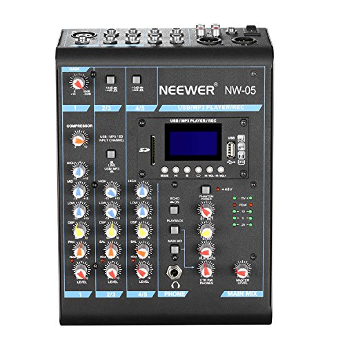 Neewer Stereo Mixer 5 Channel Compact Mini Mixing Console Echo DSP Effects, LCD Display Screen, Built-in SD card/USB/48V Phantom Power Functions for Sound Recording, Music Editing (NW-05)