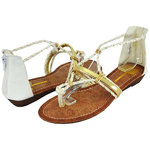 Cape Robbin Women's Samantha-4 Flat Sandals, White