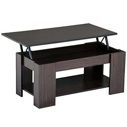 7f39632a9329c Amazon.com  go2buy Modern Lift Top Tea Coffee Table w Hidden Storage  Compartment   Under Shelf Espresso Living Room Furniture  Kitchen   Dining
