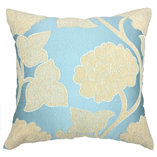 YOUR SMILEFlower Square Decorative Throw Pillow Case Cushion Cover 18x18 (18'' x 18'', Blue Flower) - Floral Square Decorative Pillow