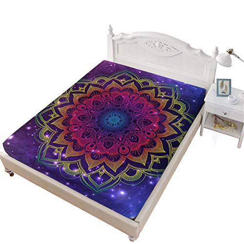 - Oliven King Fitted Sheet Tie Dye Mandala Printed Deep Pocket Purple Sheet Bedroom Decor 1 Piece King Size Bed Fitted Sheet