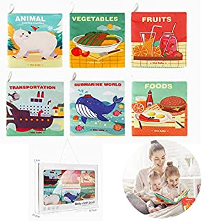 Baby Bath Book,Fabric Baby Cloth Books Early Education Toys,Babies First Soft Book, Infants Perfect Cloth Books Shower Toys 3-24 Months - Pack of 6 (Gift Box Packaging)