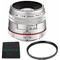 Pentax HD Pentax DA 35mm f/2.8 Macro Limited Lens (Silver) + UV Filter + MicroFiber Cloth 6AVE Bundle