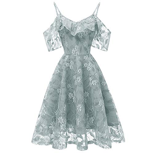 (DEATU Princess Lace Dress Women Vintage Floral Cute Lace Cocktail Neckline Ladies Party Aline Swing Sleeveless Dress(Green ,XXL))